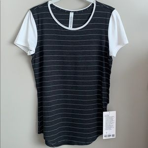NWT Lululemon Love Crew Gray/White Stripe Size 4